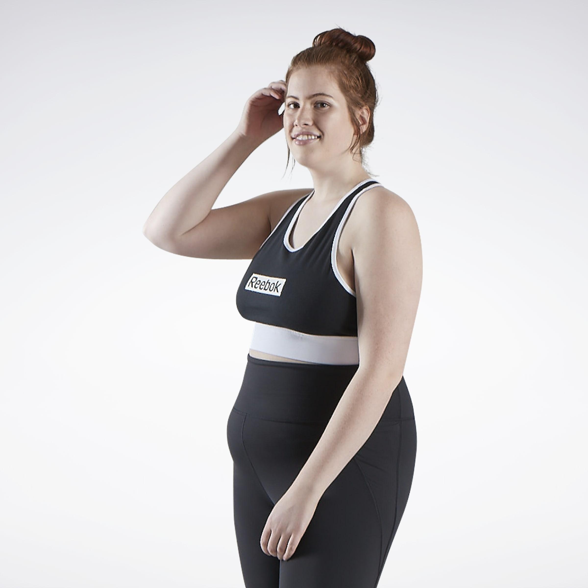Nero Donna Palestra Allenamento Fitness NUOVO Reebok Yoga più a lungo reggiseno canotta