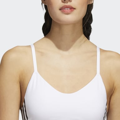 Women Yoga White All Me 3-Stripes Bra