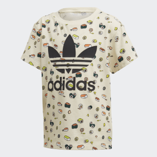 adidas Originals Damen Allover Print Typo T Shirt in Schwarz