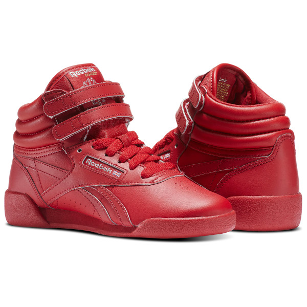 c5fde268dee9 ... Girls Grade School Reebok Freestyle Hi Lux TXT Casual Shoes  Freestyle  Hi Excellent Red Silver Gold BD5007  kids ...