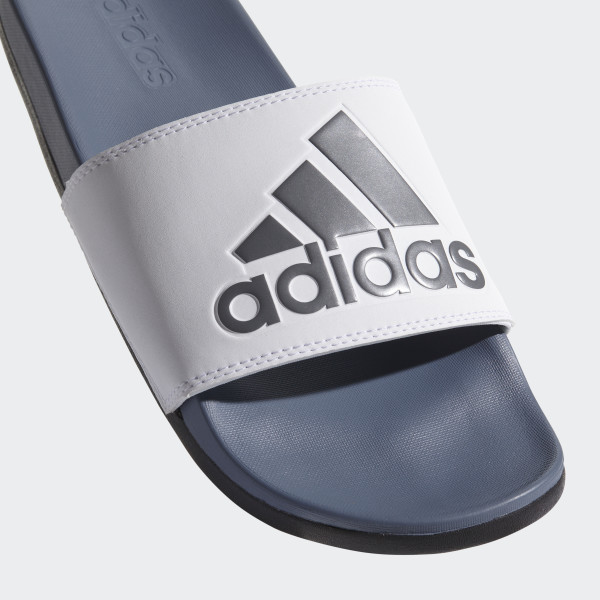 ... official 4e2b8 ddd58 Adilette Cloudfoam Plus Logo Slides Steel Cloud  White Core Black AC8412 ... 3fddf43050