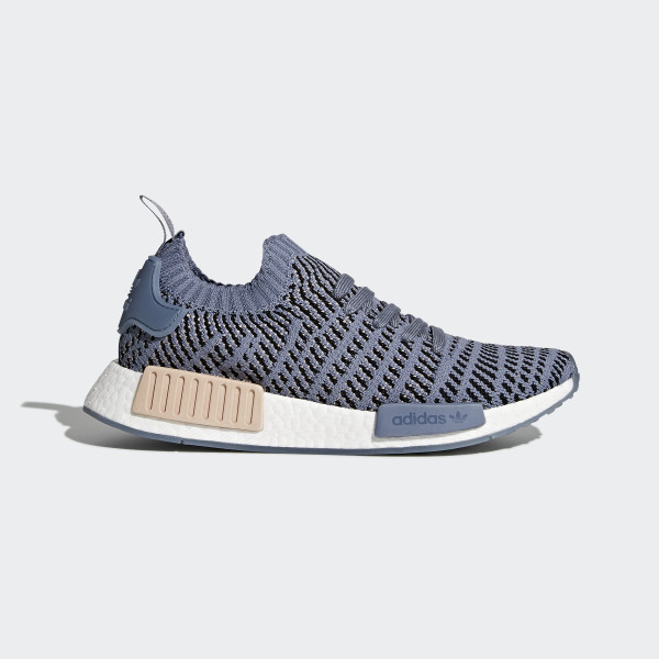 be9a90a78 Absolutely Stunning Adidas Women Blue Sneakers Cq2029 in. NMD R1 STLT  Primeknit Shoes Steel   Ash Pearl   Cloud White CQ2029