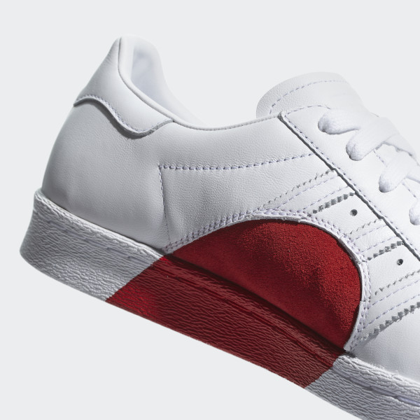 the latest 5d31d b396e Red and white shelltoe adidas Superstar 80s Half Heart Shoes Cloud White  Cloud White Scarlet CQ3009 ...