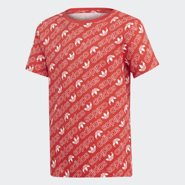T-shirt Trefoil Monogram Rosso DN8147