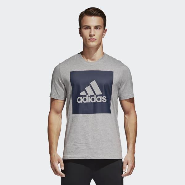 Camiseta Essentials Box Logo Cinza S98725