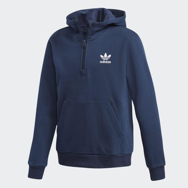 Sweat-shirt à capuche 1/2 Zip bleu DH2701