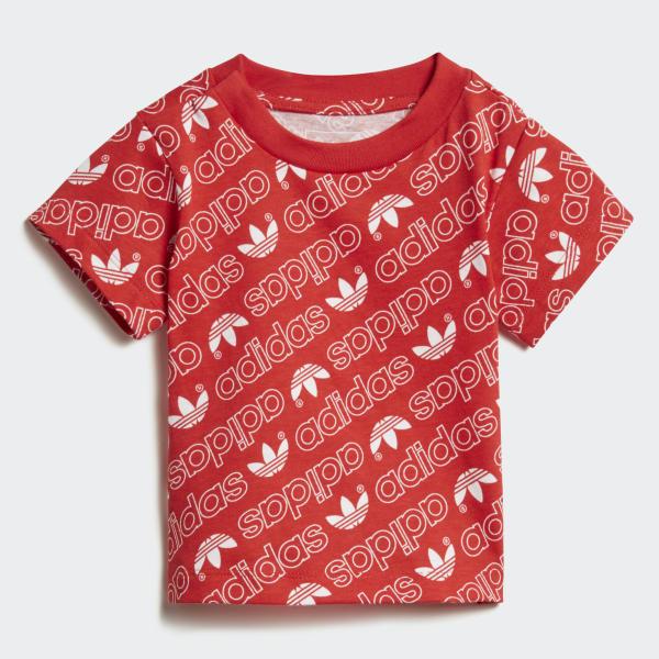 T-shirt Trefoil Monogram rouge DN8163