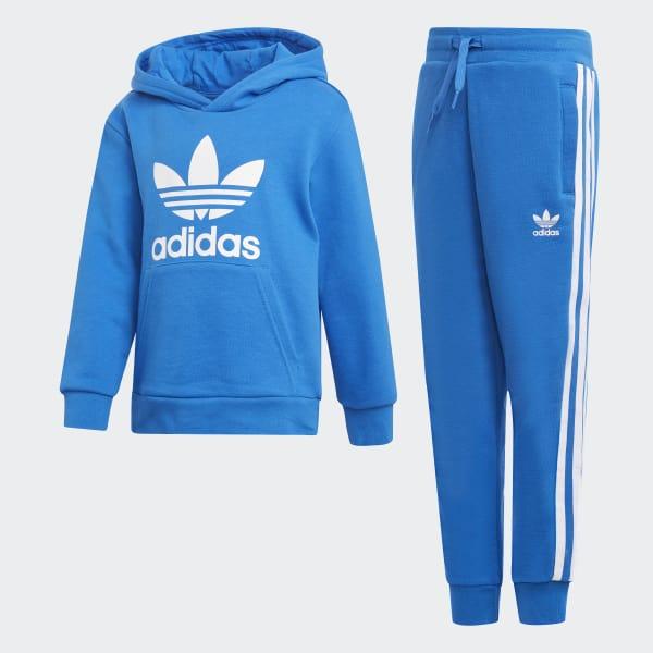 Conjunto sudadera con capucha y pantalón Trefoil Azul D98858