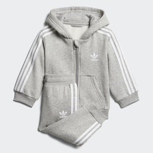 Trefoil Full Zip Hoodie Track Suit Grey D96097