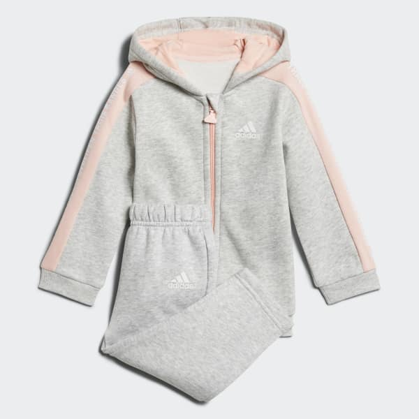Linear Hooded Fleece Jogginganzug grau DJ1547