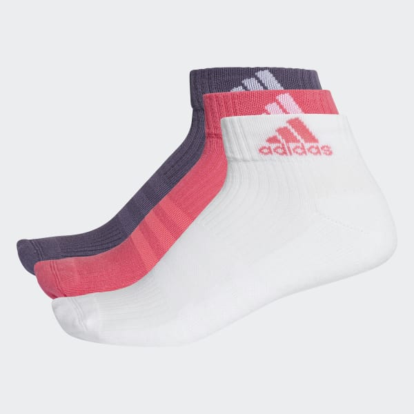 3-Stripes Performance Ankle Socks 3 Pairs Pink CF7340