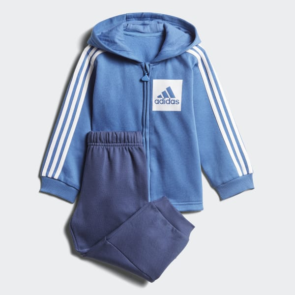 Tuta 3-Stripes Hooded Fleece Blu CF7389
