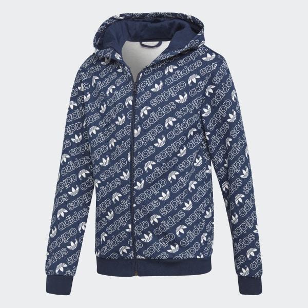 Veste à capuche Trefoil Monogram bleu DH2696