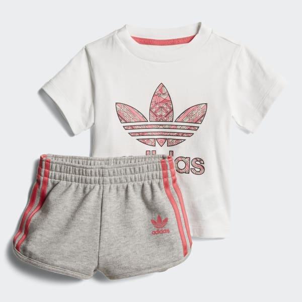 Conjunto de camiseta y pantalón corto Blanco CY2294