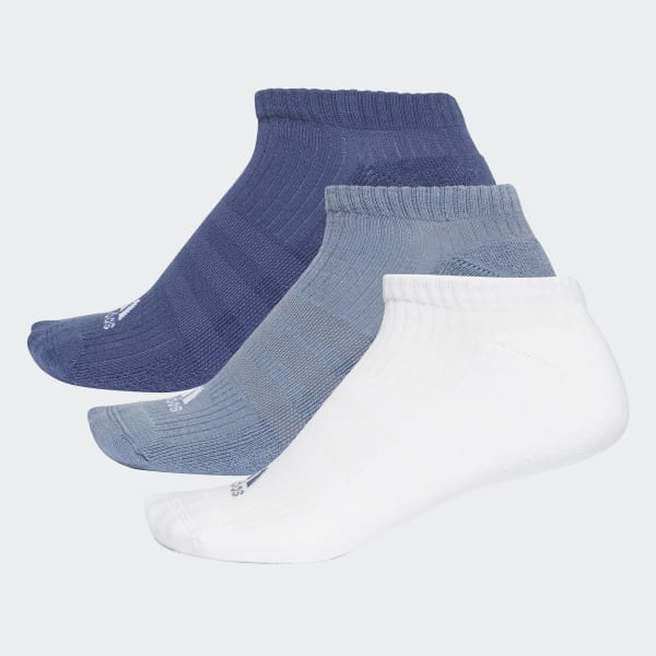 3-Stripes No-Show Socks 3 Pairs Blue CF7343