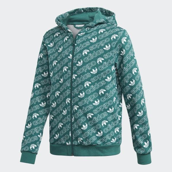 Trefoil Monogram Hoodie Green DH2695