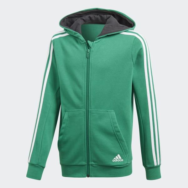 Chaqueta con capucha Essentials 3 bandas Verde CF6587