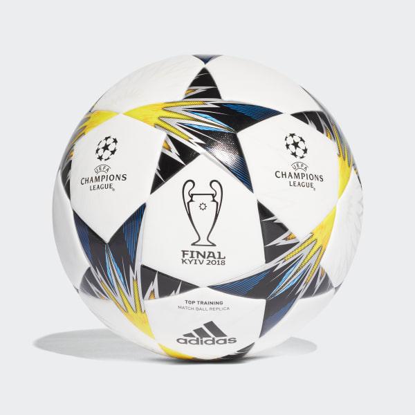Balón de Entrenamiento UCL Finale Kiev WHITE/BLACK/SOLAR YELLOW/BLUE CLEAR AQUA/ORANGE CF1204