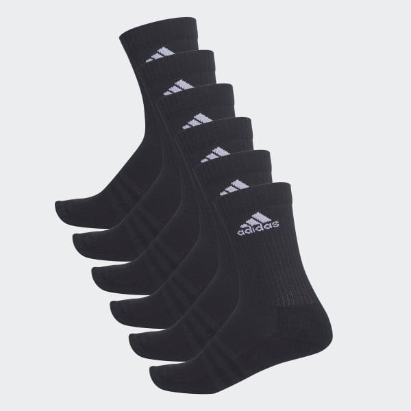 3-Stripes Crew Socks 6 Pairs Black AA2295
