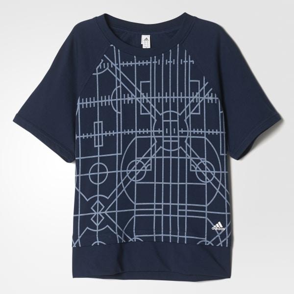 Allover Print Boxy T-Shirt blau AY5321