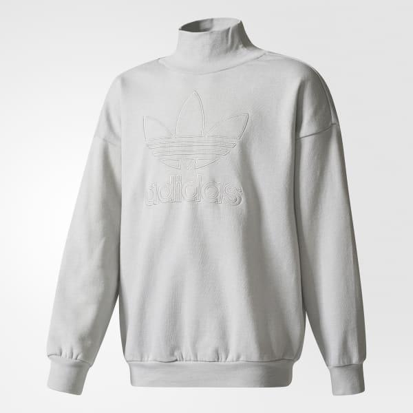 Trefoil French Terry Crew Sweatshirt Grey BQ3958