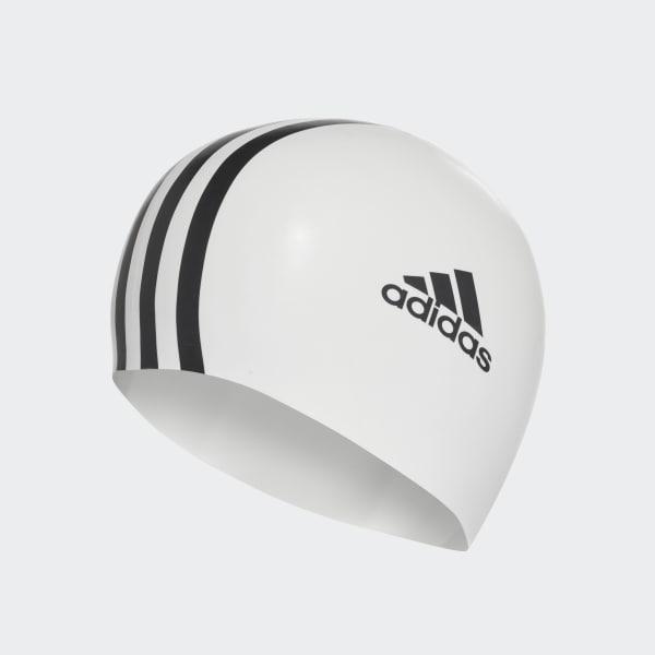 3 stripes silicone swim cap White 802309