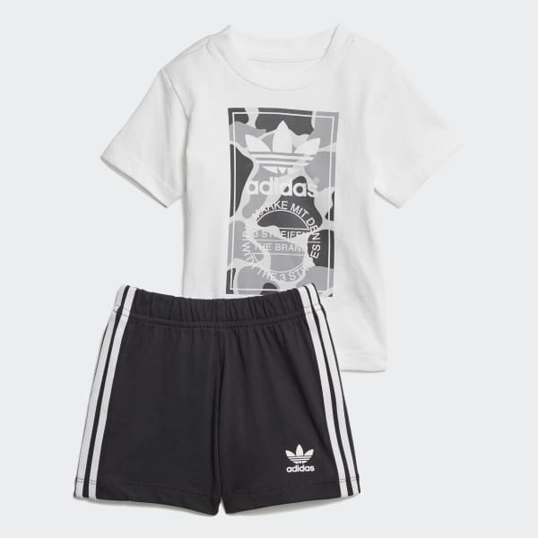 Camo Trefoil Shorts and Tee Set White D96095