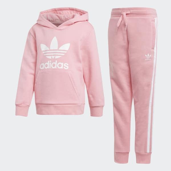 Trefoil Hoodie Set Pink D98859