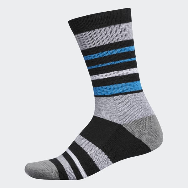 Wool Stripe Crew Socks Black CY9747