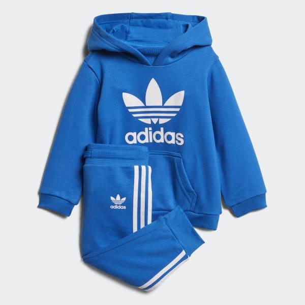 Conjunto sudadera con capucha y pantalón Trefoil Azul D96067
