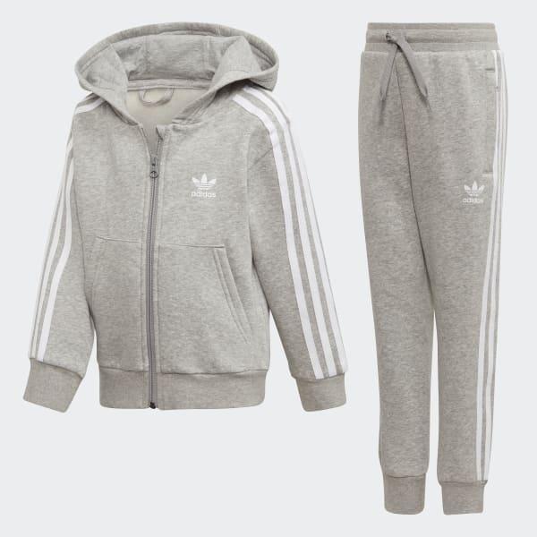 Trefoil Hoodie Track Suit Grey D98867