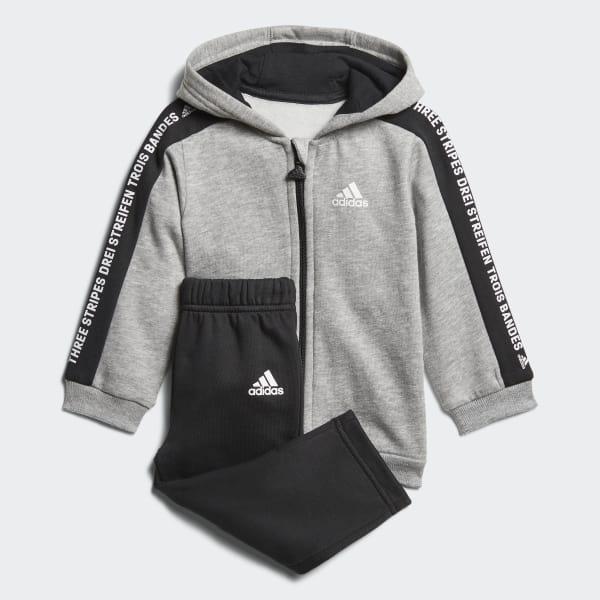 Linear Hooded Fleece Joggingpak grijs DJ1546