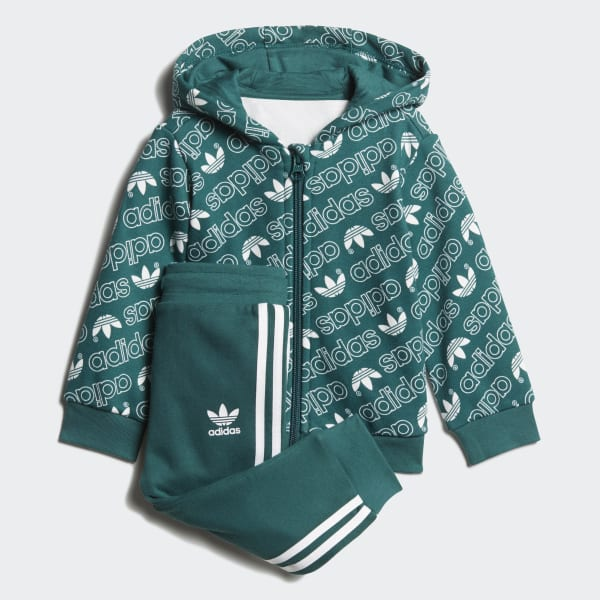 Trefoil Monogram Hooded Track Suit Green DJ2699