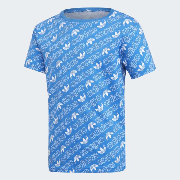 Trefoil Monogram T-Shirt blau DN8146