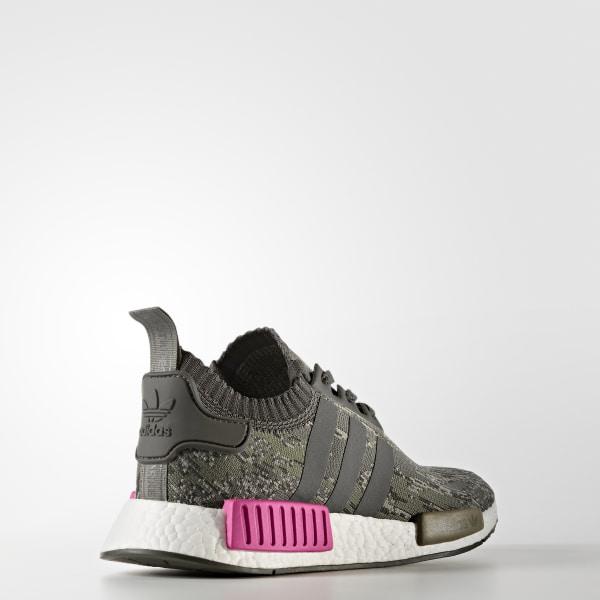 cf97eb9af3a4b NMD R1 Primeknit Shoes Utility Grey   Utility Grey   Shock Pink BZ0222
