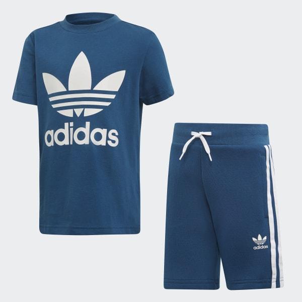 27bf313b89 Conjunto Shorts Camiseta Trefoil Legend Marine   White DV2851