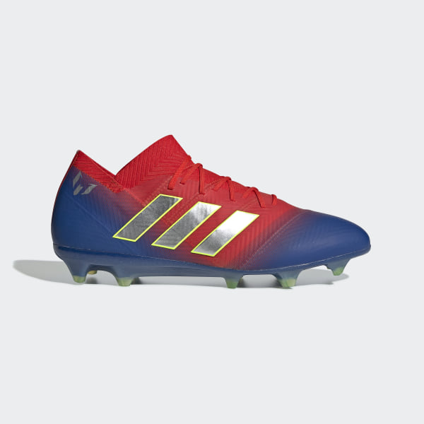 53dd2ee7eab Nemeziz Messi 18.1 Firm Ground Boots Active Red   Silver Met.   Football  Blue BB9444
