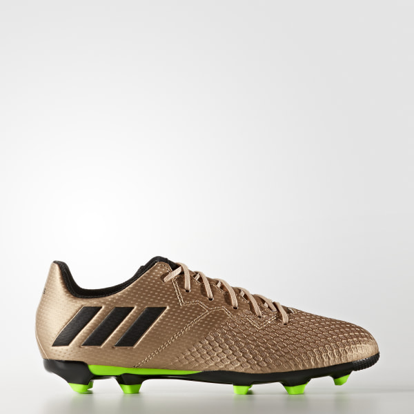 799104805 adidas messi 16.3 in j junior indoor soccer shoes gold ba9855  messi 16.3  firm ground cleats copper metalic core black solar green ba9843