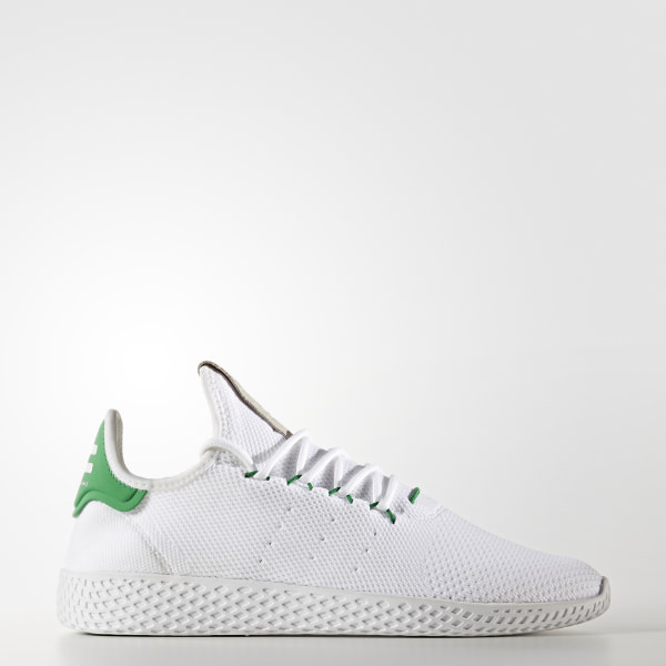 4d1770527760c Pharrell Williams Tennis Hu Primeknit Shoes Cloud White   Cloud White    Green BA7828