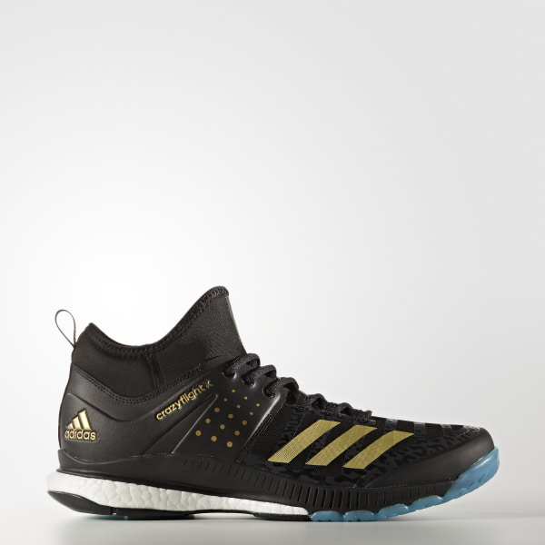 online store c59c8 6da6f Crazyflight X Mid Shoes Core Black  Gold Metallic  Icey Blue BY2446
