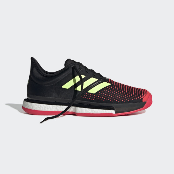 the latest 4d5d1 8705f SoleCourt Boost Shoes Core Black   Hi-Res Yellow   Shock Red AH2131