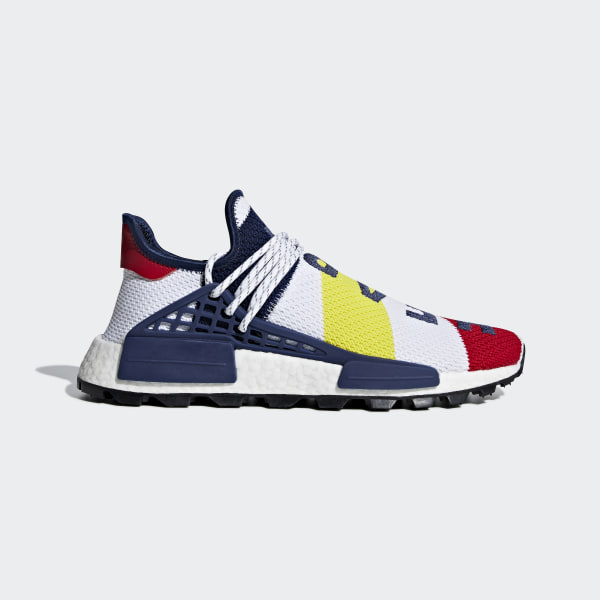 a9a4a8636c756 Pharrell Williams BBC Hu NMD Shoes Cloud White   Scarlet   Dark Blue BB9544