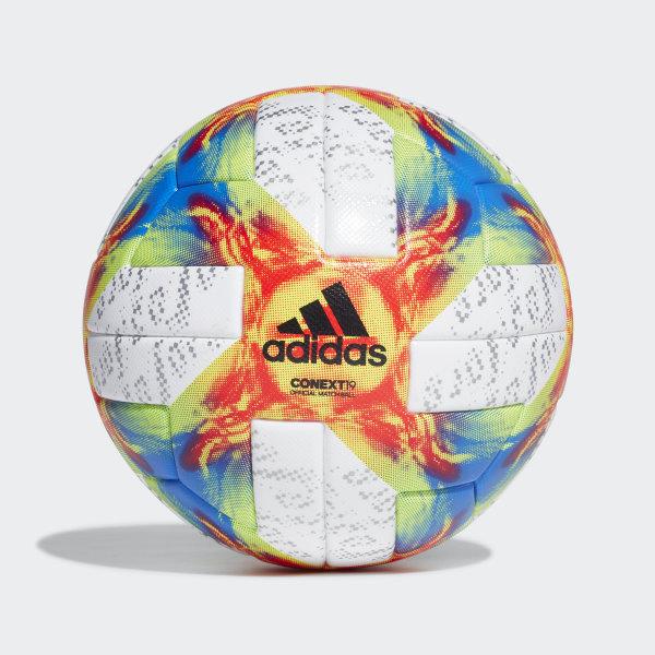 c9ac83c79c080 Balón Conext 19 Official Match White   Solar Yellow   Solar Red   Football  Blue DN8633