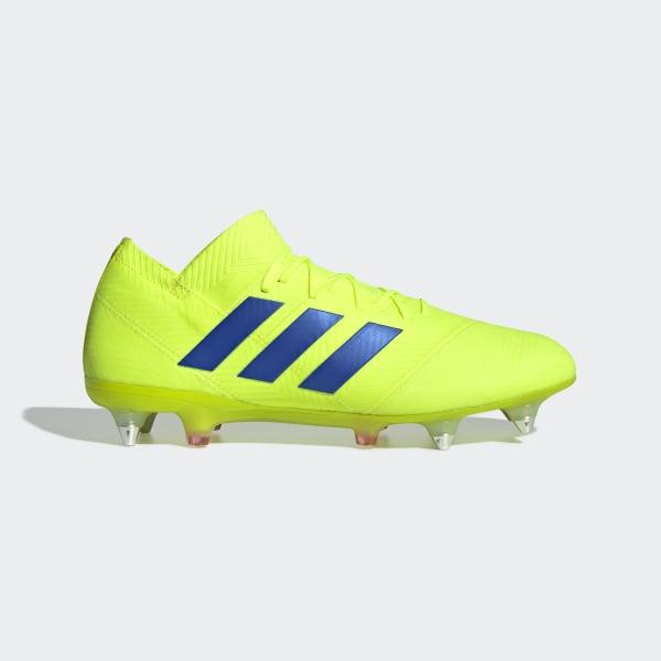 79a7c204b7c6c Nemeziz 18.1 Soft Ground Boots Solar Yellow   Football Blue   Active Red  BC0294