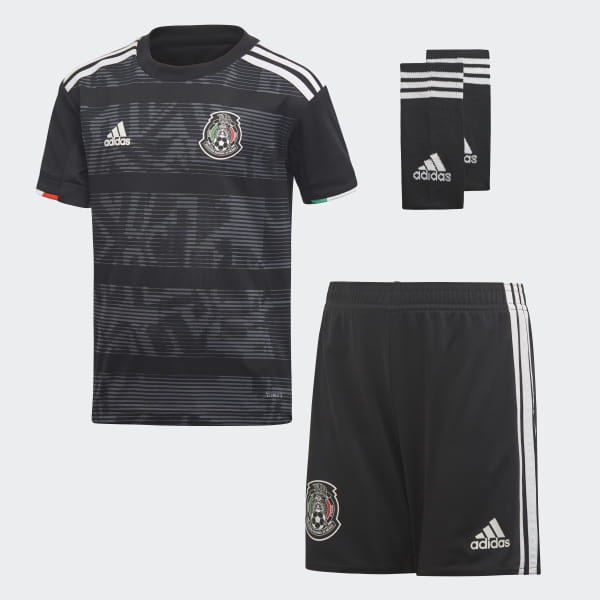 760a9dd34c0ae Conjunto Mini Uniforme Titular Selección de México 2019 Niño top black white  bottom