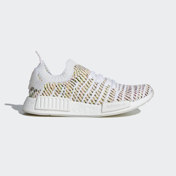 NMD R1 STLT Primeknit Shoes. C  180. Color  Cloud White   Semi Solar Yellow    Solar Pink 6c2411b523