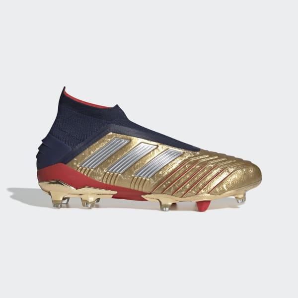 Predator 19+ Firm Ground Zidane Beckham Cleats Gold Metallic   Silver  Metallic   Collegiate 3f54fa20a2