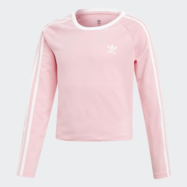 29908e55c859 3-Stripes Cropped Tee Pink   White DW9299