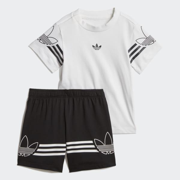 f47330d8ba88d Conjunto camiseta y pantalón corto Outline White   Black DV2833
