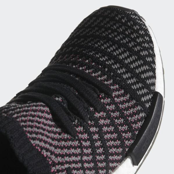 4b3992a64d08b NMD R1 STLT Primeknit Shoes Core Black   Grey Four   Solar Pink CQ2386